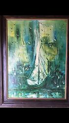 Mid Century Danny Garcia Lithograph Good Condition Hand Signed Cool Sail And Sea