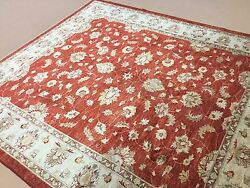 8' X 9' Red Beige Fine Oushak Oriental Area Rug Hand Knotted Wool All-over