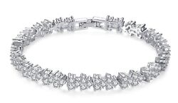 White Gold-Plated Cubic Zyrconia Bracelet