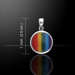 Rainbow Pride Lgbtq .925 Sterling Silver Pendant By Peter Stone Jewelry