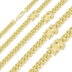 10k Yellow Gold Hollow Miami Cuban Necklace Chain 4-11mm 18-30 Curb Link Men Wm