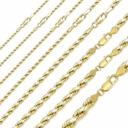 10k Solid Yellow Gold Diamond Cut Rope Necklace Chain 3-6mm 18-30 - Link Unisex