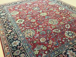 8'.1 X 9'.7 Red Navy Blue Fine Traditional Oriental Area Rug Hand Knotted Wool