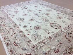 8and039.2 X 10and039.2 Beige Light Brown Fine Oushak Oriental Area Rug Hand Knotted Wool