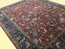 7'.11 X 9'.8 Red Navy Blue Traditional All-over Oriental Area Rug Hand Knotted