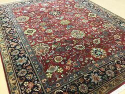 8'.1 X 9'.10 Red Navy Blue Fine Traditional Oriental Area Rug Handknotted Wool