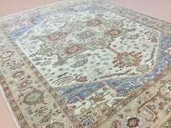 7and039.11 X 9and039.9 Beige Light Brown Fine Geometric Oriental Rug Hand Knotted Wool