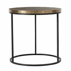 24 Round Accent Table Modern Iron Brass Natural Antique Gold Leaf Black Yes