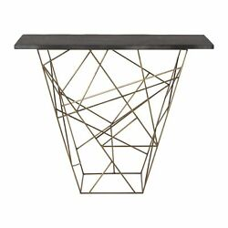 42 Long Console Table Contemporary Gold Black Antique Brass Finish Solid Iron M