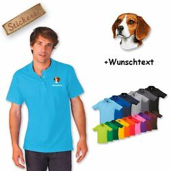 Polo Shirt Cotton Embroidered Embroidery Dog Hunting Dog Beagle + Desired Text