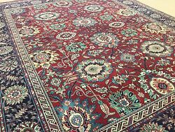7'.11 X 9'.9 Red Navy Blue Classic Oriental Area Rug Wool Hand Knotted