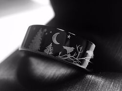 Ravens Ring Wedding Bands Trees And Ravens Forest Ring Tungsten Wedding Band