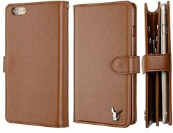 For IPhone 6 (4.7) Case[Brown] Luxury [Dual Wallet] [Wristlet] Cow Leather