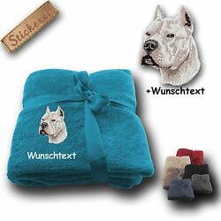 Fleecy Cuddle Blanket Pitbull Pit Bull Terrier WhiteEmbroidery70 78x51 316in