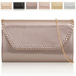 Shiny Faux Leather Designer Ladies Evening Women Clutch Bag Bridal Party Prom UK