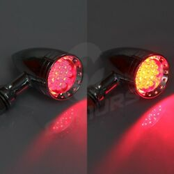 2X Chrome Universal Motorcycle Bullet Red LED Turn Signal Lights Tail Light Lamp
