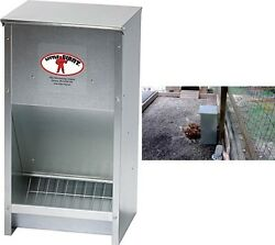 Poultry Steel Feeder Capacity 25lb Livestock Supplies Chicken Ducks Geese Bantam