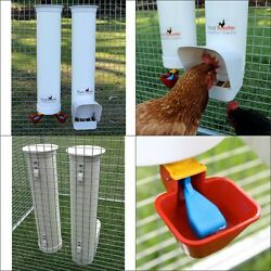Chicken Feeder Rain Cover Twin Valve-Cup Waterer Set 6.5 lb 1 gal Poultry Bantam