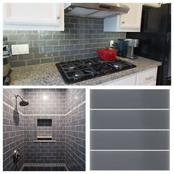 3x12 Gray Crystal Glass Subway Tile For Kitchen Bathroom Shower Spa Wall