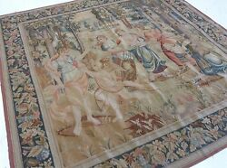 7'.1 X 7'.2 Square French Aubusson Oriental Wall Tapestry Hand Knotted Wool