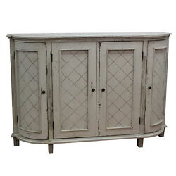 60 W Emily Buffet Hand Carved Antique Wash Antiqued White Paint Finish 4 Door