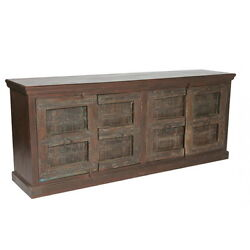 86 W Sarah Sideboard 4 Door Distressed Paint Finish Hand Crafted Green Brown