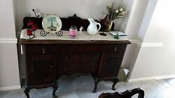 Antique All Wood Dining Room Buffet And Vanity With Mirror - Excellent Condition