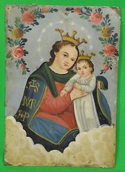 Antique 1800s Our Lady Refuge Of Sinners Mexican Tin Retablo