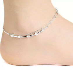NEW WOMEN'SGIRL'S STARSBEADS SILVER PLATED DOUBLE CHAIN LINK ANKLE BRACELET