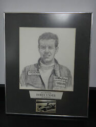 Pencil Drawing Indianapolis 500 Winner Bobby Unser Ims Signed 1975
