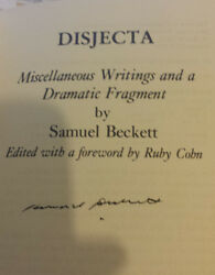 Disjecta By Samuel Beckett Signed By The Author 1st Edition 1983 Hardback.