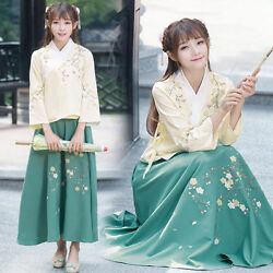 Embroidery Suit Chinese Ancient Costume Han Clothing Women Long Sleeve Cos Skirt
