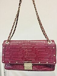 Gianni Versace Couture Burgundy python design leather shoulder bag $1,000.00