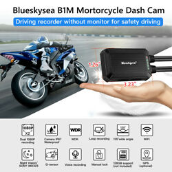 B1m Nt96663 Dual Channels Front + Rear 1080p Motorbike Wifi Dash Cam Camcorder