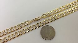 7mm 14k Solid Diamond Cut Cuban Link Man's Chain Necklace 18-30 Free Shipping