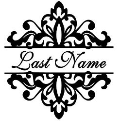 Custom Last Name 11.5x12.5 Wedding Family Removable Vinyl Wall Art Decal Decor