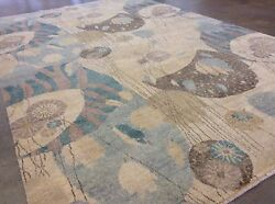 5'.9 X 9'.2 Ivory Green Fine Modern Oriental Area Wool Rug Hand Knotted