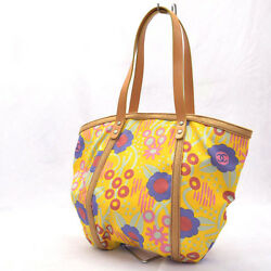 CHANEL Flower canvas tote bag yellow floral design