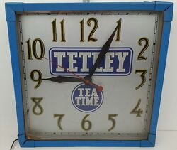 Vintage Tetley Tea Time Electric Wall Clock Made In Usa Man Cave Advertisement