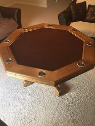 Hand crafted oak gaming table with stain and water-resistant speed felt