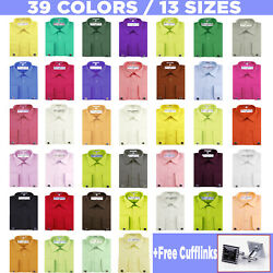 Roman Giardino Menand039s Dress Shirt French Convertible Cuff Solid 13 Sizes 39 Color