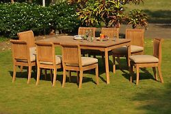 Dsgv Grade-a Teak Wood 9pc Dining 71 Rectangle Table 6 Armless Chair Patio Set