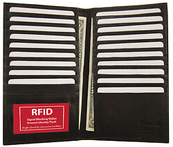 Black RFID Blocking Wallet Leather Bifold 19 Credit Card ID Checkbook Holder $14.69