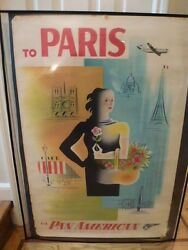Pan Am Airways Airlines Paris Vintage Travel Poster C. 1950and039s 28 X 42 Inch