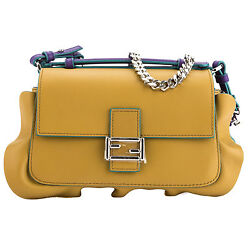 Fendi Olive and Purple Leather Double Micro Ruffled Baguette Bag (New with Tags)