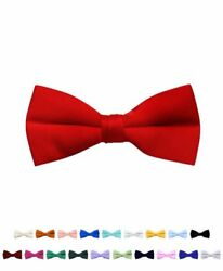 6 Pack Boy's Stylish Poly Satin Banded Clip On Bow Ties (BBC1701-6pk)