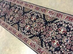 2'.6 X 18'.6 Black Red Fine Classic Oriental Wool Rug Long Runner Hand Knotted