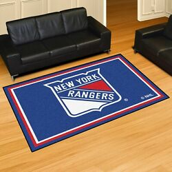 New York Rangers 5and039 X 8and039 Decorative Ultra Plush Carpet Area Rug