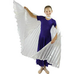 Danzcue Girls Solid Sliver Belly Dance Worship Angel Wings With Sticks