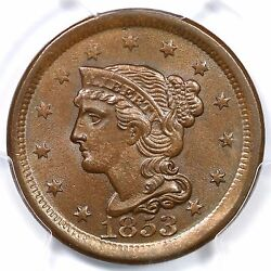 1853 N-21 R-3+ Pcgs Ms 64 Bn Lds Braided Hair Large Cent Coin 1c Ex Twin Leaf